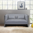 Royce Contemporary Loveseat w/ Polished Stainless Steel & Grey Fabric - Armen Living LCRC2GR
