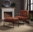 Sarahi 2Pc Pk Chair & Ottoman in Cocoa Top Grain Leather - Acme Furniture 59595