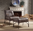 Sarahi 2Pc Pk Chair & Ottoman in Distress Espresso Top Grain Leather - Acme Furniture 59597