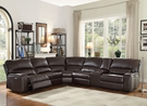 Saul Sectional Sofa (Power Motion/USB Dock) in Espresso Leather-Aire - Acme Furniture 54155