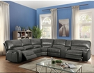 Saul Sectional Sofa (Power Motion/USB Dock) in Gray Leather-Aire - Acme Furniture 53745