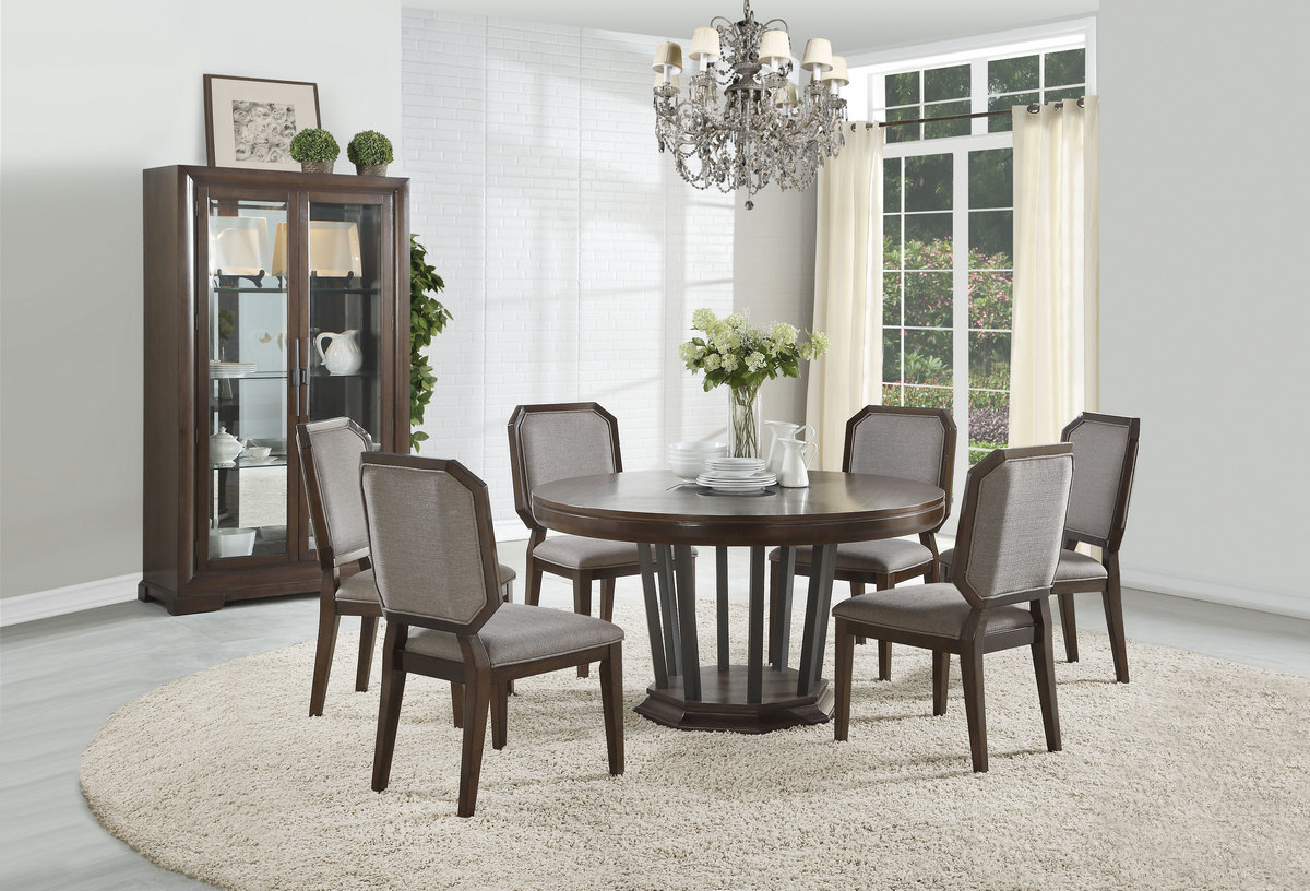 Selma Dining Table W/ Single Pedestal (Round) In Tobacco   Acme Furniture  64085