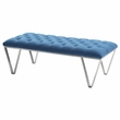 Serene Contemporary Tufted Bench in Brushed Stainless Steel w/ Blue Fabric - Armen Living LCSRBEBLUE