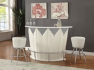 Sphaerio Bar Table in Ivory PU & High Gloss Top - Acme Furniture 72360
