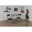 Sutton 3 Piece Space-Saver Bistro Set w/ Black Glass Top Table & Black Vinyl Padded Chairs - Flash Furniture XM-JM-A0278-1-2-BK-GG