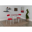 Sutton 3 Piece Space-Saver Bistro Set w/ Red Glass Top Table & Red Vinyl Padded Chairs - Flash Furniture XM-JM-A0278-1-2-RD-GG