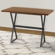 Valencia Contemporary Rectangular Bar Table in Mineral Finish w/ Walnut Wood Top - Armen Living LCVLBTMFBS