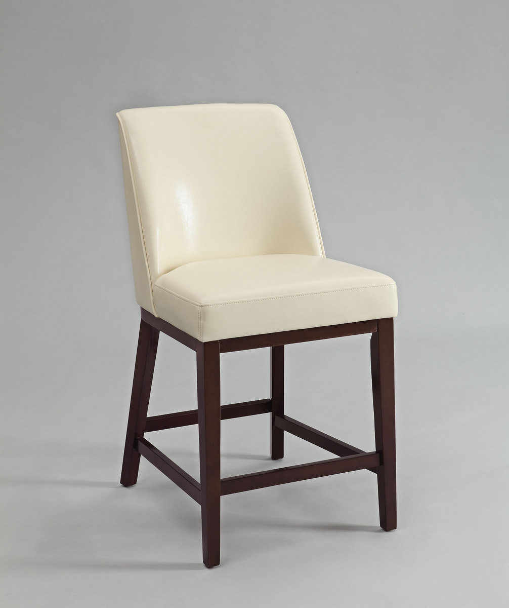 Valor Counter Height Chair (Set 2) In Ivory PU U0026 Espresso   Acme Furniture  96358