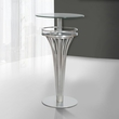 Yukon Contemporary Bar Table In Stainless Steel & Gray Frosted Glass - Armen Living LCYUBTB201TO