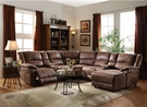 Zanthe II Sectional Sofa (Motion) in 2-Tone Brown Padded Suede - Acme Furniture 51445