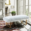 Zinna Contemporary Bench in White Fur & Gold Stainless Steel Finish - Armen Living LCZNBEWH