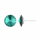 11mm Green Stone May Birthstone Stud Earrings