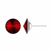 11mm Red Stone January Birthstone Stud Earrings