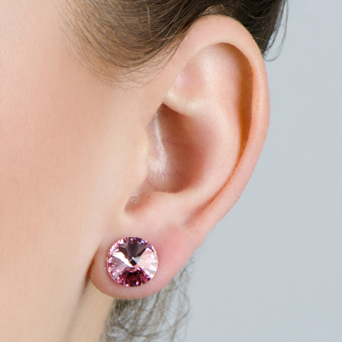 11mm Pink Stone October Birthstone Stud Earrings