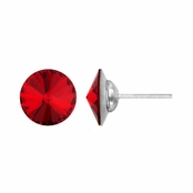 11mm Red Stone July Birthstone Stud Earrings