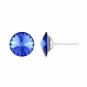 11mm Blue Stone September Birthstone Stud Earrings