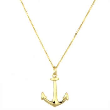 Sirena's 18 inch Goldtone Anchor Charm Necklace