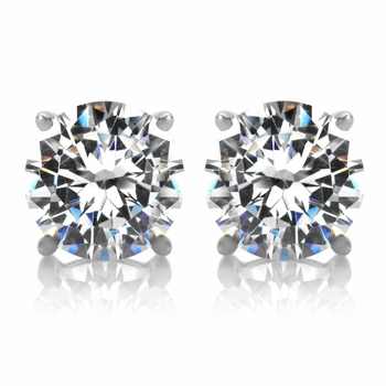 2.5 TCW Jessica's Silvertone CZ Stud Earrings