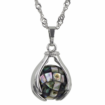 Abalone spinning mosaic ball necklace with Singapore chain