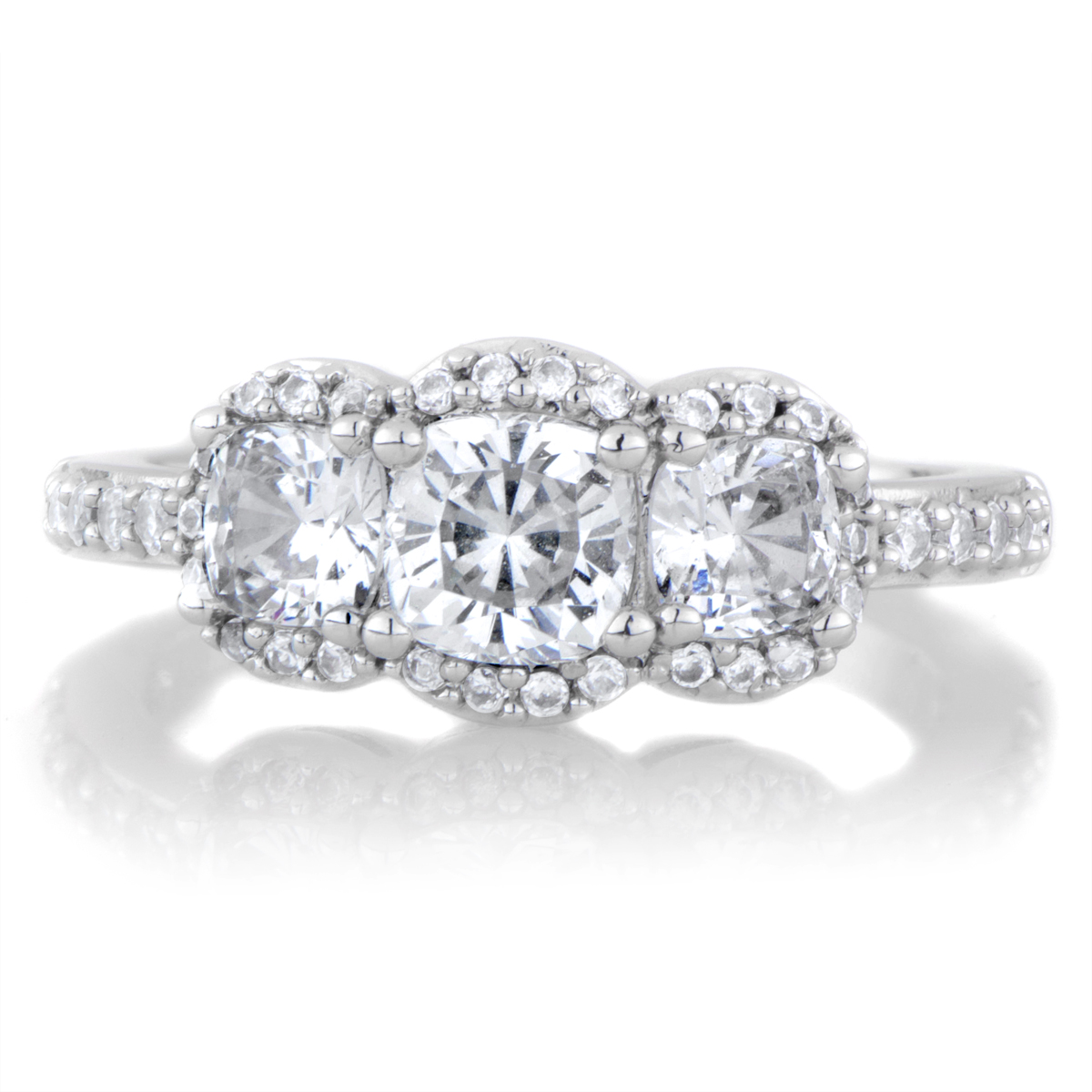 abigails cushion cut 3 stone engagement ring roll off image to close zoom window - Three Stone Wedding Rings