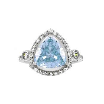 Abilene's 2.5 ct Trillion Cut Aqua CZ Engagement Ring