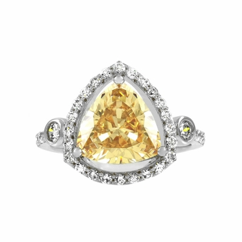 Abilene's 2.5 ct Trillion Cut Champagne CZ Engagement Ring