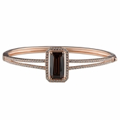 Adabelle's Fancy Emereald Cut Chocolate CZ Rose Gold Bangle Bracelet