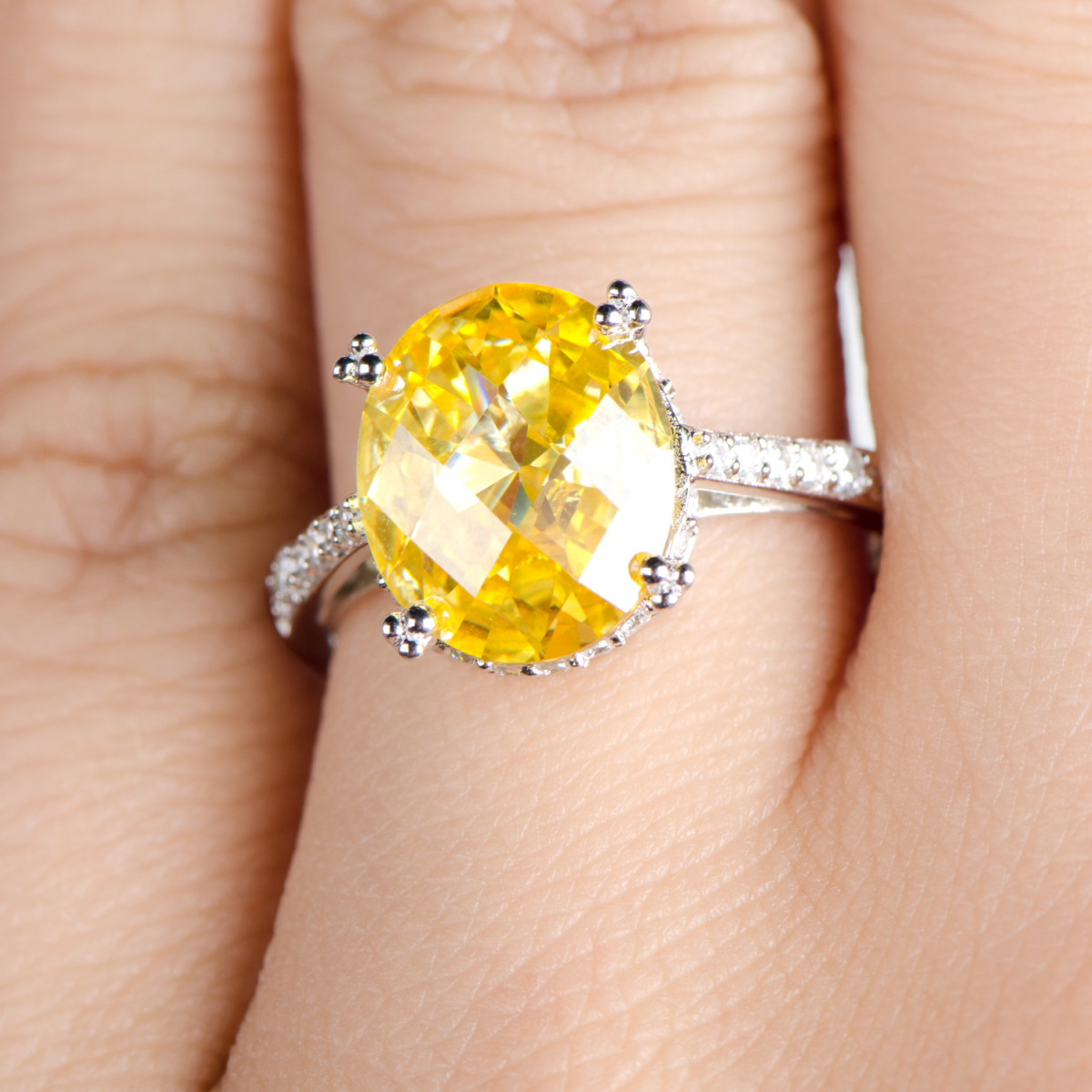 Canary CZ Oval Cut Engagement Ring
