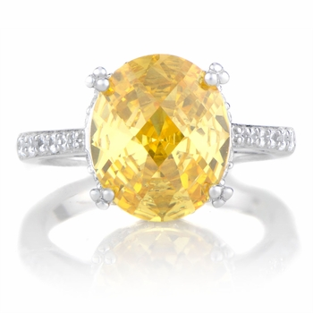 Adalina's Canary CZ Oval Cut Engagement Ring
