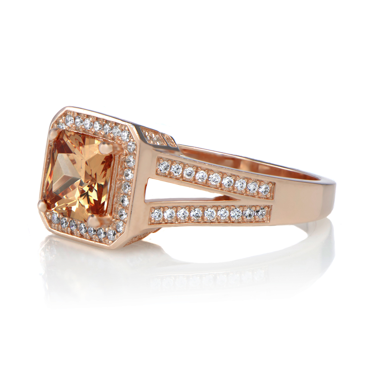 Adelle's 196ct Rose Goldtone Princess Cut Champagne Cz Engagement Ring