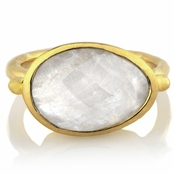 Adra's Oval Cut Imitation Moonstone Goldtone Cocktail Ring