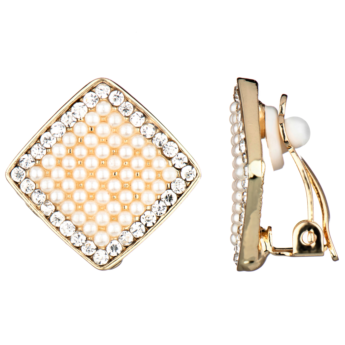 Aideen's Gold Diamond Shape Imitation Pearl And Rhinestone Clip On Earrings  Roll Off Image To Close Zoom Window