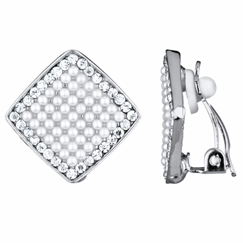 Aideen's Silvertone CZ Shape Imitation Pearl and Rhinestone Clip On Earrings