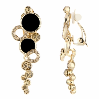Ainsley's Goldtone Circle Dangle Clip On Earrings