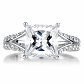 Ainsley's Princess Cut Split Shaft Engagement Ring - 2.0 ct