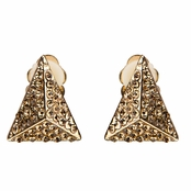 Aislinn's Gold and Champagne Triangular Clip-on Earrings