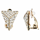 Aislinn's Goldtone Rhinestone Pyramid Clip On Earrings