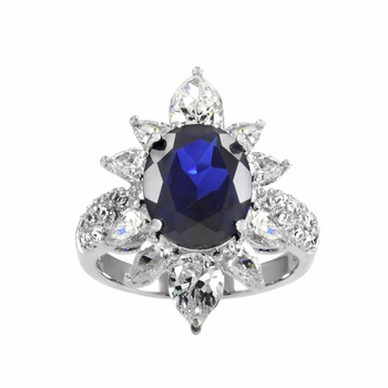 Alaina's Blue CZ Right Hand Ring