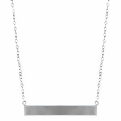 Alena's Solid Silvertone Bar Necklace