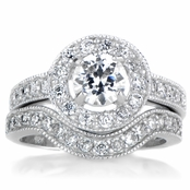 Alesia's Round Cut Halo CZ Wedding Ring Set