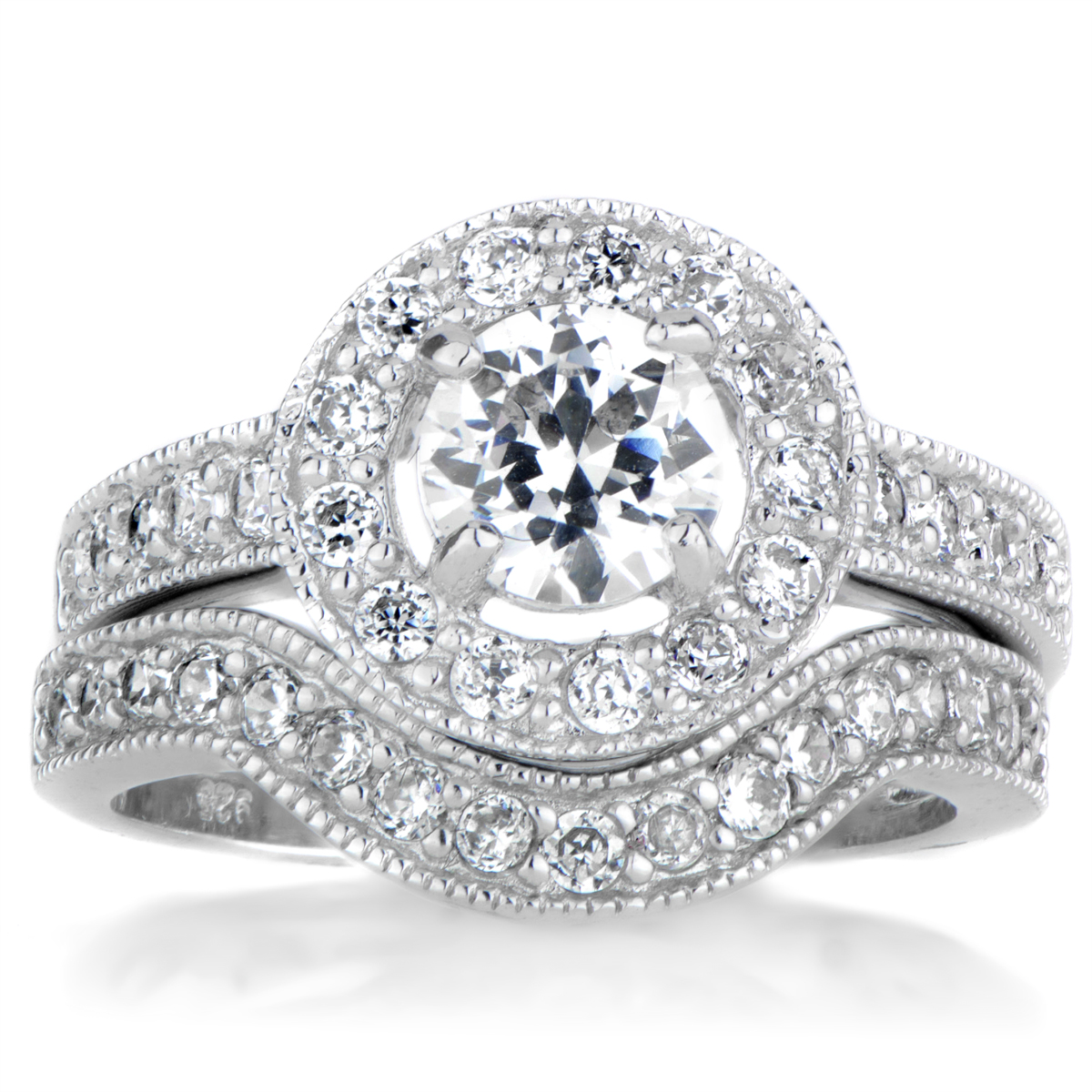 round cut halo cz wedding ring set