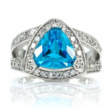 Alexandrine's Trillion Cut Blue CZ Ring
