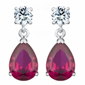 Alexia's Pear Drop Red CZ Earrings