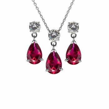Alexia's Pear Drop Red CZ Necklace Earring Set