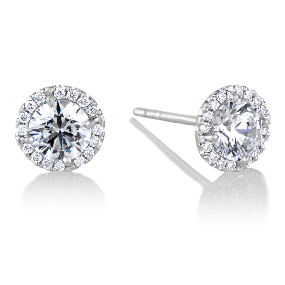halo 5 mm cz stud earrings in 18kt white gold