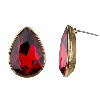 Alina's Pear Cut Simulated Ruby Stud Earrings