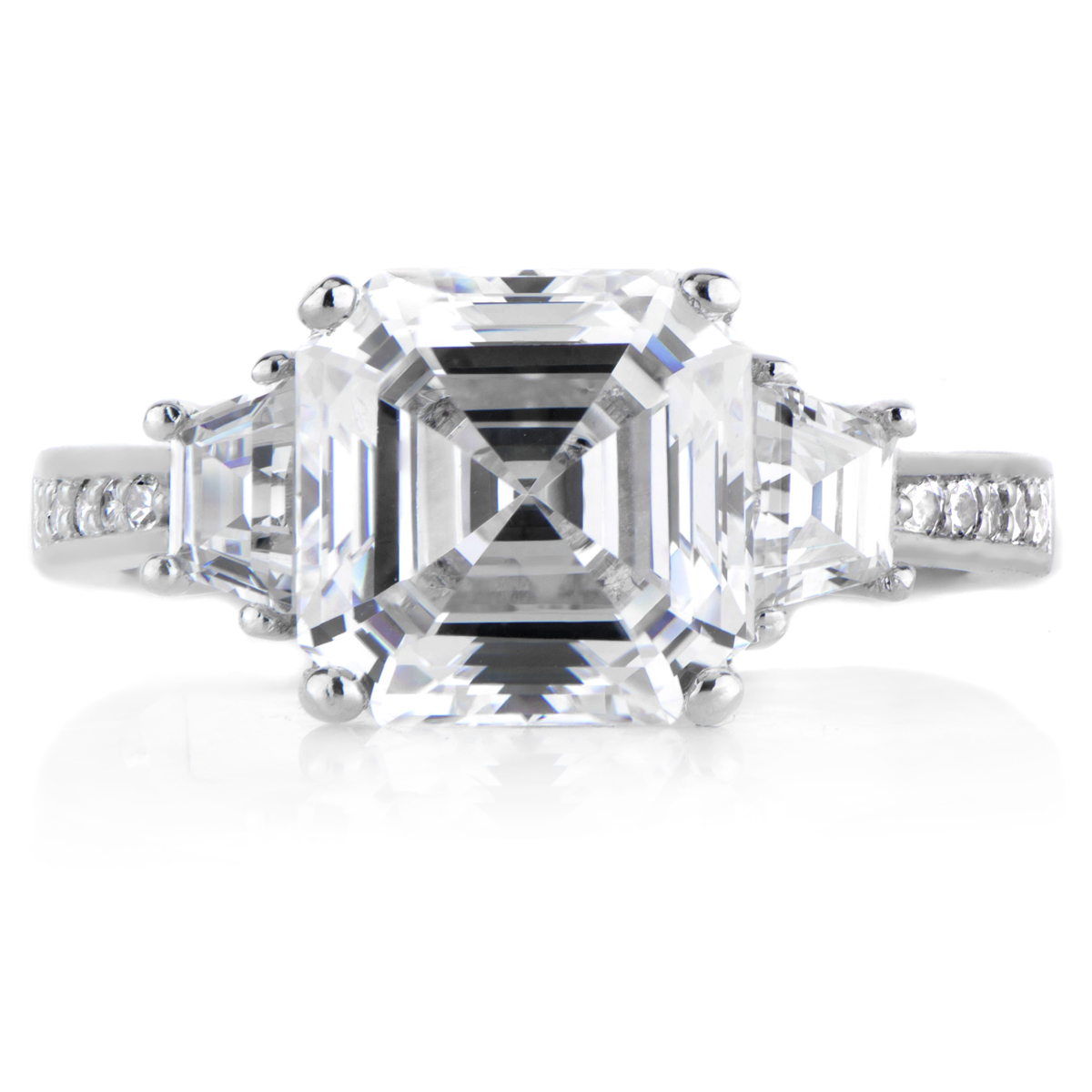 Asscher Cut Cz 3 Stone Ring Roll Off Image To Close Zoom Window