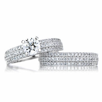 Alix's Triple Row CZ Wedding Ring Set