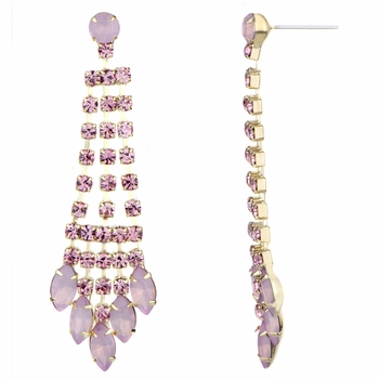 Aliza's Light Pink Rhinestone Fringe Dangle Earrings