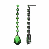 Allegra's Fancy Green CZ Pear Drop Earrings